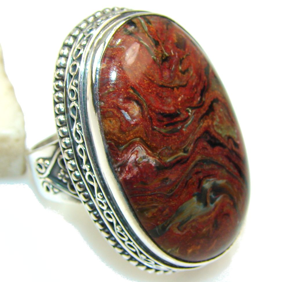ring rings silver natural large gemstone info jewelry pietersite information