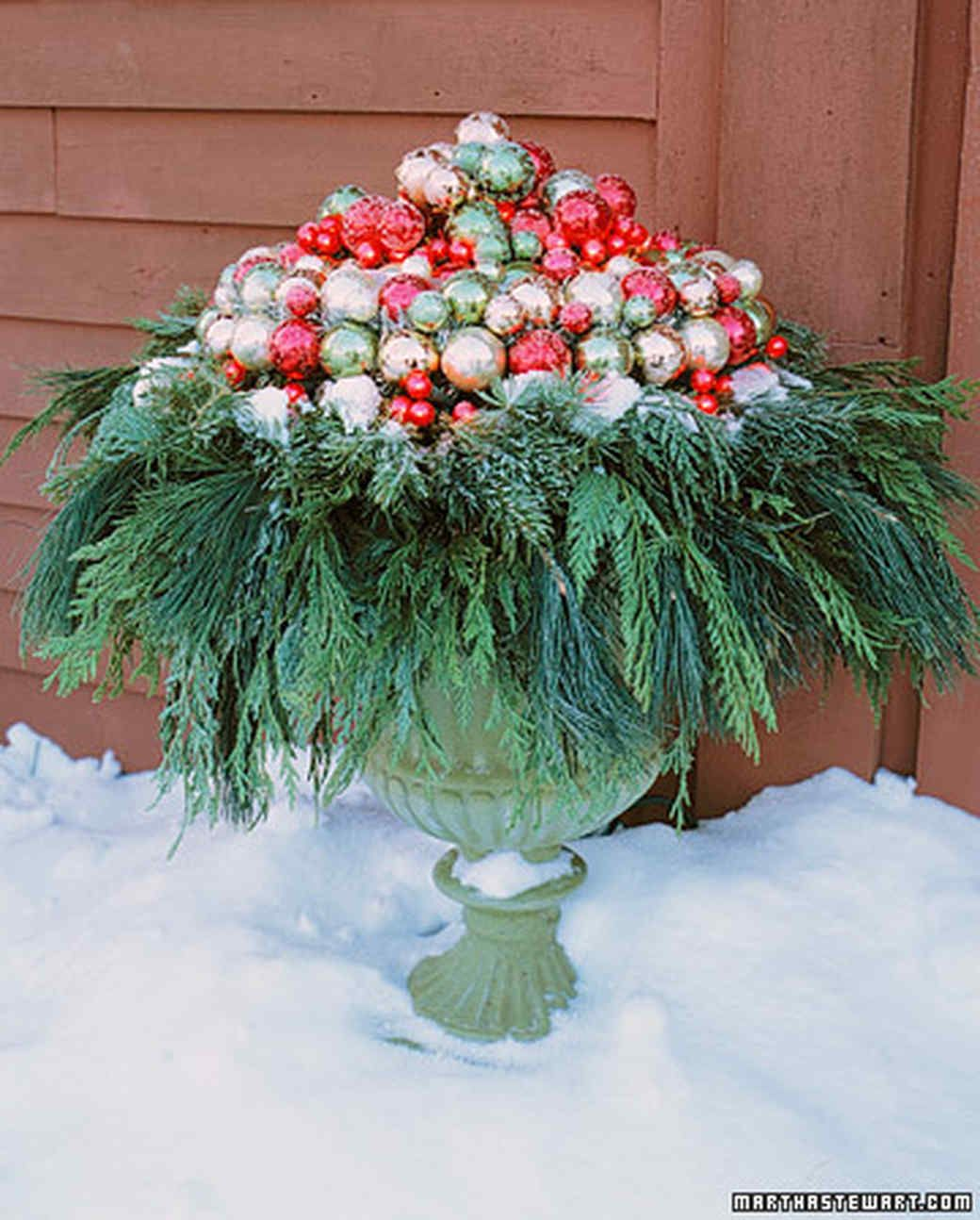 Decorative Urns For Plants Amusing Urn Topper  Ornament Outdoor Christmas And Christmas Decor Design Ideas