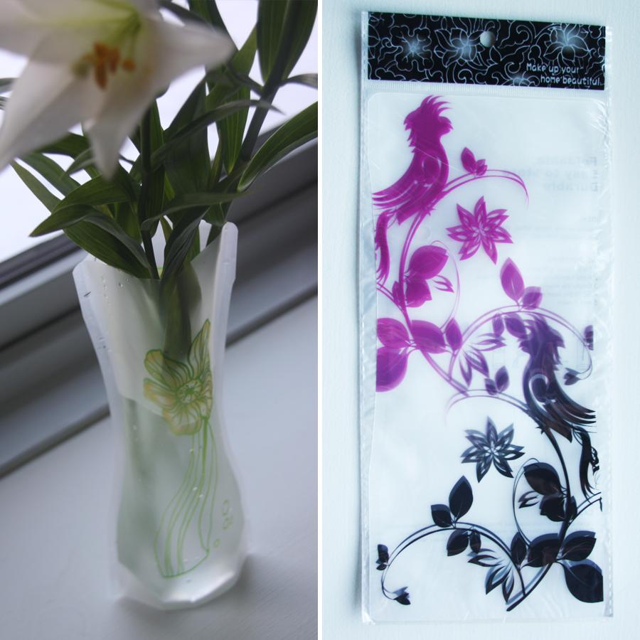 Foldbar vase – Lilla/sort fugle på grene, 20,-