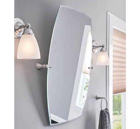 Shop Moen Rockcliff Extra Large 28 3 In X 36 In Rectangular Frameless Bathroom Mirror At Lowe Brushed Nickel Mirror Bathroom Mirror Rectangular Bathroom Mirror