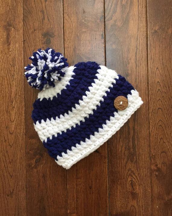 Crochet Nautical Beanie Hat with Pom Pom  Photo Prop  Girl Hat Boy Hat ( newborn-adult)  bd113bd4d6a