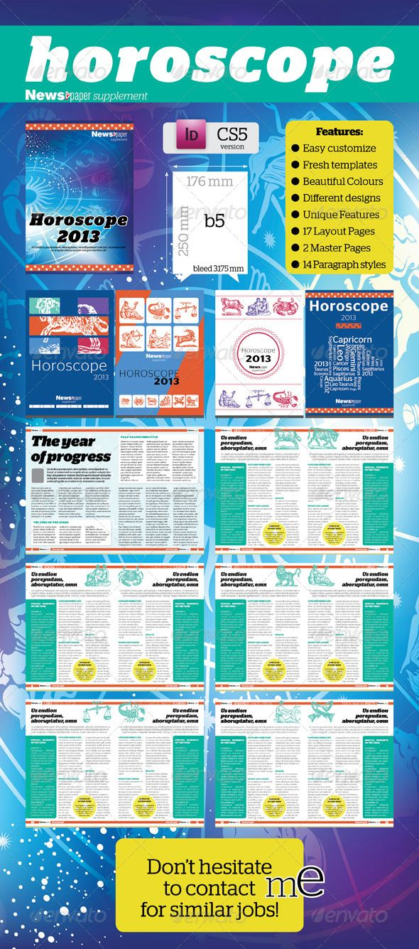 Pages Horoscop Supplement For Newspaper Newsletter Templates - Paper newsletter templates