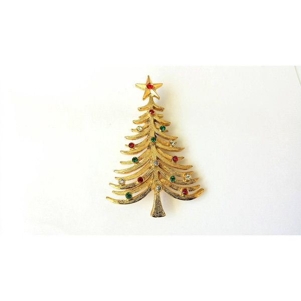 Gold Christmas Tree Pin Christmas Tree Rhinestone Brooch Vintage