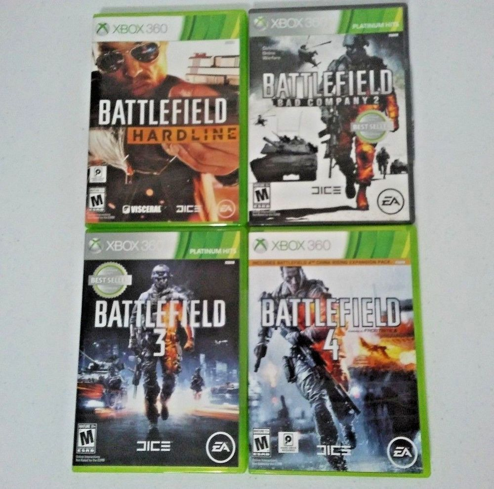 Battlefield 4 Game Lot Bf Bad Company 2 Bf 3 Bf 4 Xbox 360 All