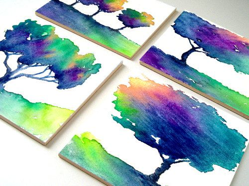 Modern Bright Ceramic Coasters - Hue Tree Tile Art - Home Decor - Coffee Table Drink Tile Coaster Set