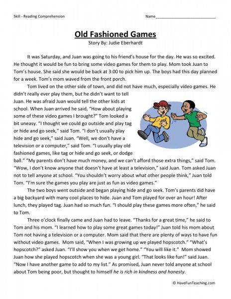 Reading Comprehension Worksheet - Old Fashioned Games Reading  Comprehension, Reading Comprehension Worksheets, Comprehension Worksheets