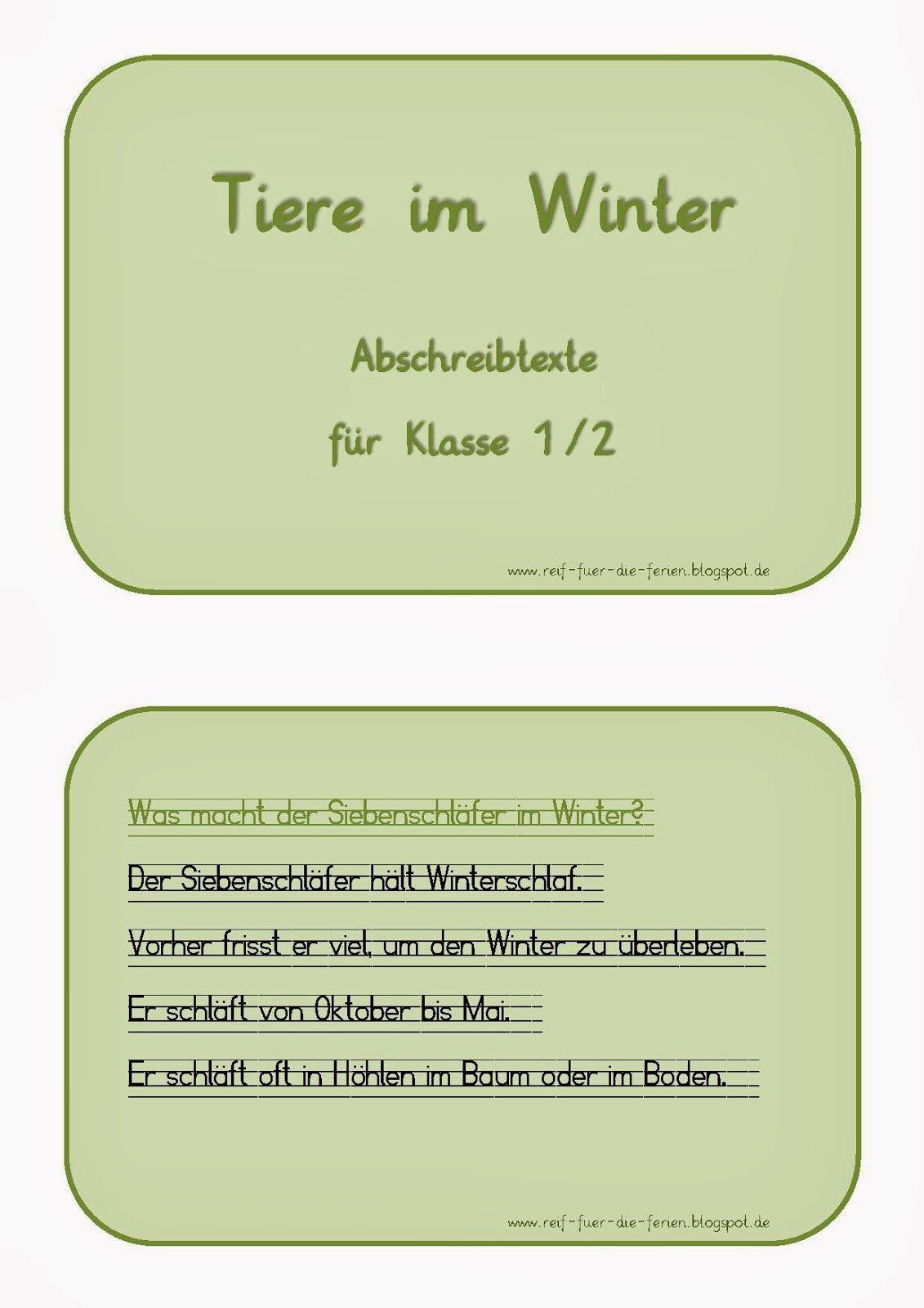 Tiere im Winter - Abschreibtexte | Deutsch | Pinterest | Winter ...