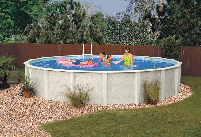 Lomart Meadow Breeze 18 X 33 Oval Above Ground Pool Deck Designs Backyard Backyard Pool Backyard Pool Landscaping