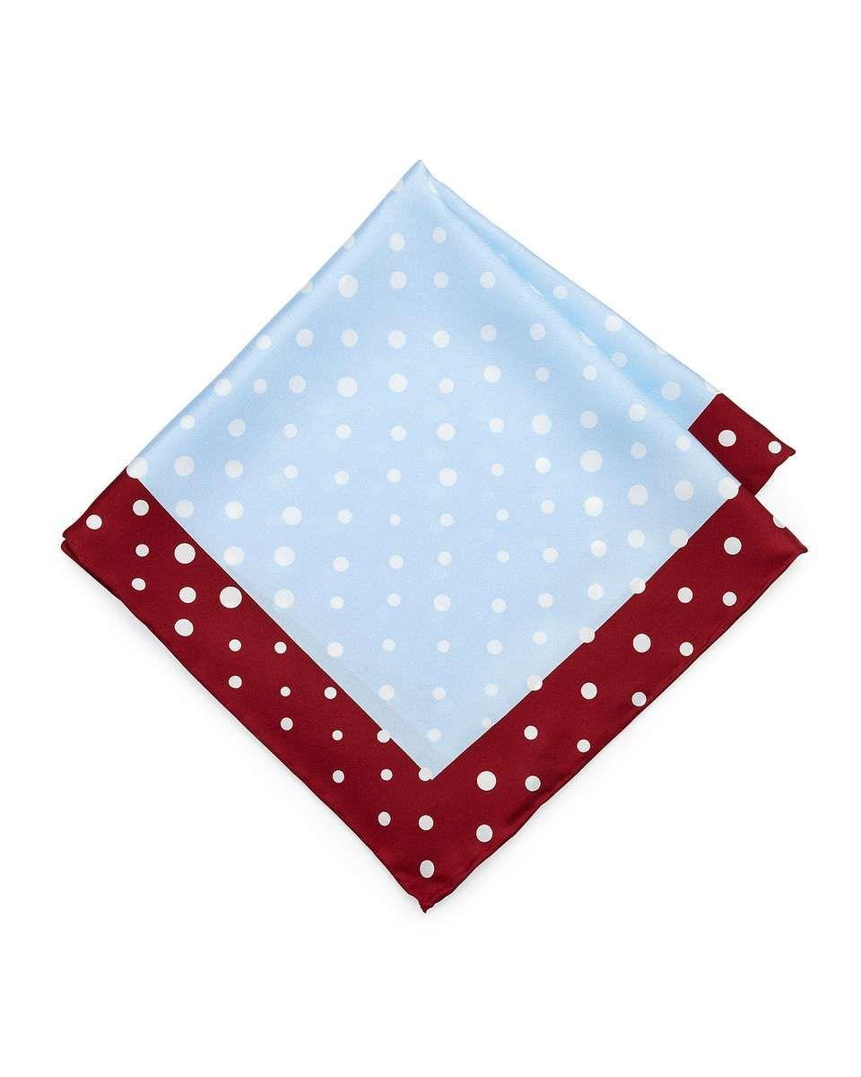 6611652a Neiman Marcus Handmade Dotted Pocket Square, Light Blue/Burgundy ...