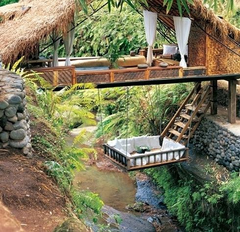 In this river resort in Bali  is part of Tree house - Anywhere but here