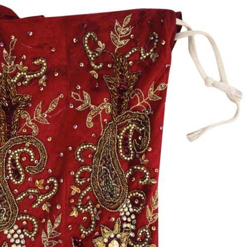 Vintage-Bridal-Lehenga-Heavy-India-Hand-Beaded-Net-Fabric-Wedding-Skirt-Maroon