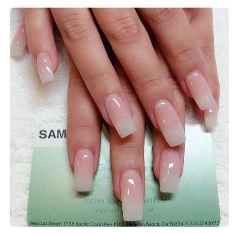 American Manicure Natural Acrylic Nails Long Square Nails Pretty Nails