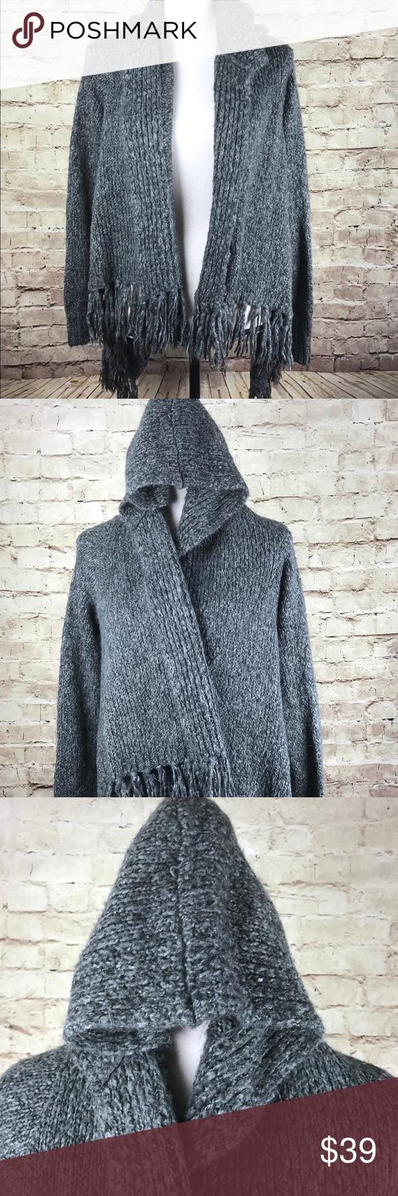 Nine West open fringe hooded long sleeve cardigan | Fringe trim ...