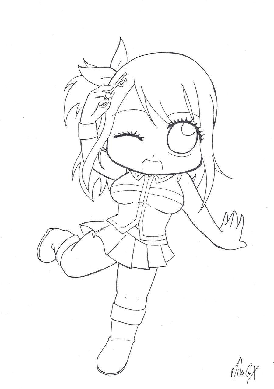 Chibi lucy heartfilia v 1 by mikagx lineart fairy tail chibi sketches fairy tail - Fairy tail coloriage ...