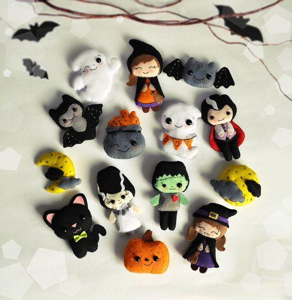 Cute Halloween ornament SET of 14 ornaments felt Halloween decor