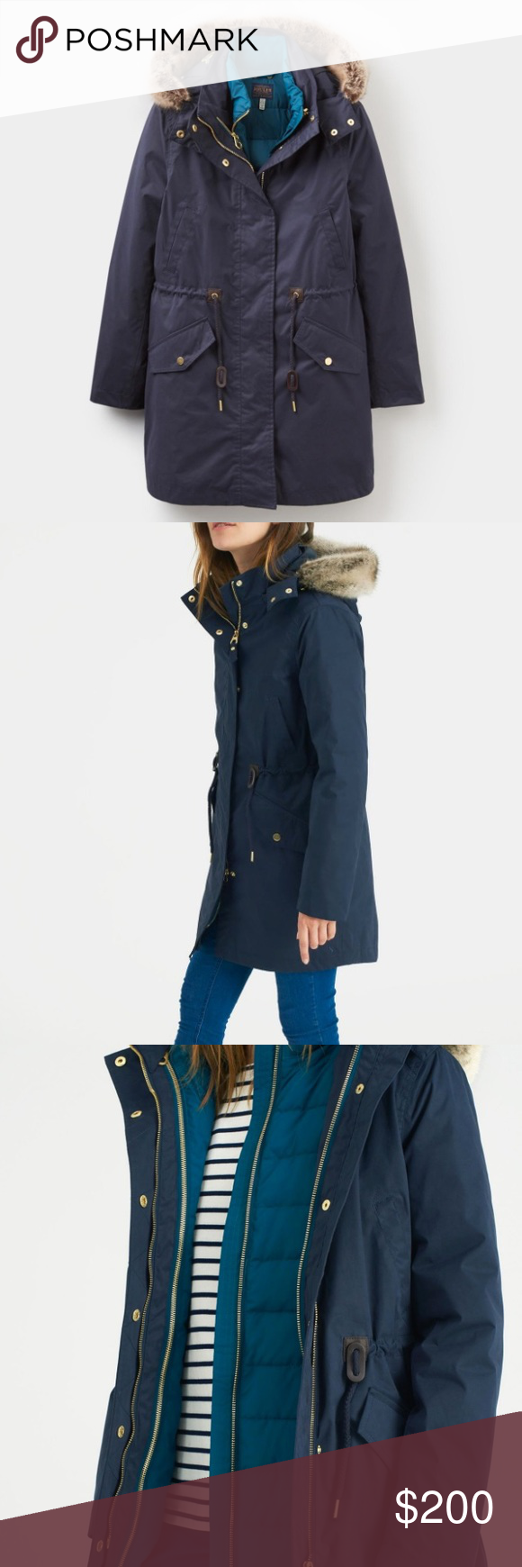 Joules Wyndfall Navy 3-in-1 Parka Style Coat Joules Wyndfall Marine Navy 3-in-1 Parka Style Coat --- BRAND NEW WITH TAGS: Perfect to pull on whatever the weather you can wear the soft, peached cotton, 100% waterproof, cinched in waist, jacket on its own, the padded inner jacket seperately or, when extra warmth and protection is required, zip them both together.  3-in-1 coat and jacket 100% waterproof Adjustable waist Dropped hem Front pockets Faux fur trimmed hood Length 90cm Joules Jackets…