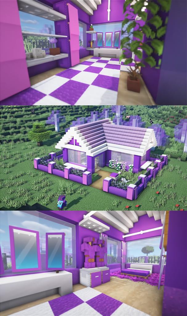 Cute Purple House Design in 2020 Minecraft house designs