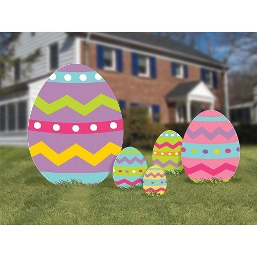 Easter Eggs Lawn Signs Yard Decorations Corrugated Spring Garden Stakes 5  Pc Set
