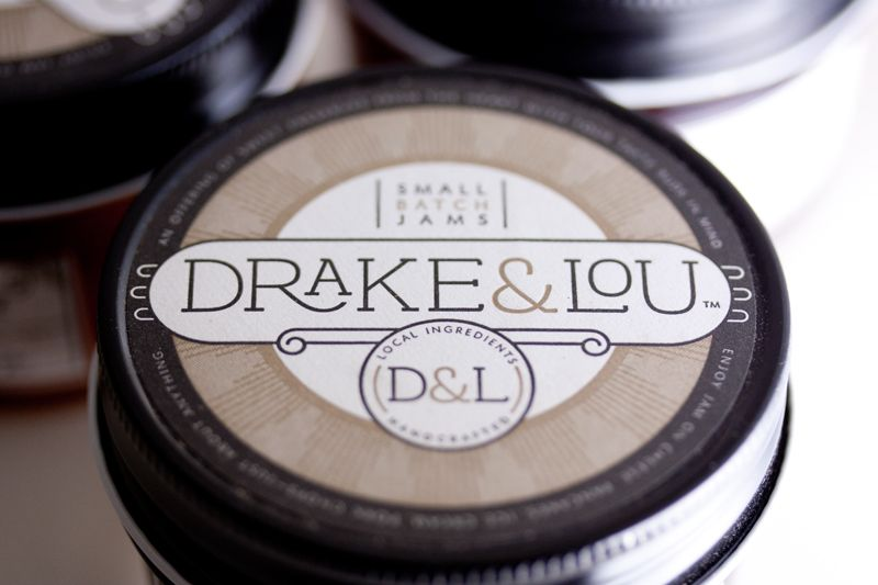 Brand identity and packaging for a small-batch jam maker, Drake & Lou