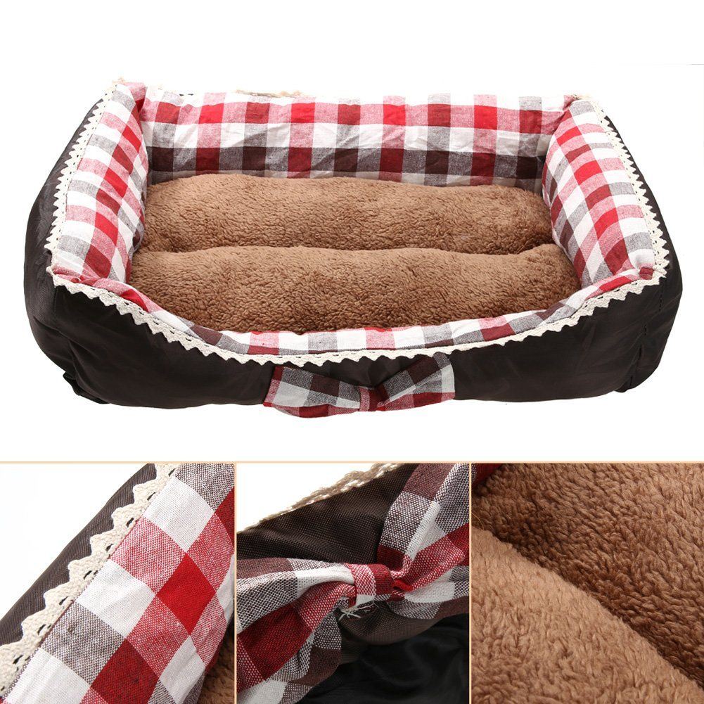 TTnight Warm Cozy Soft Square Lattice Pet Dog Mat Cat Bed