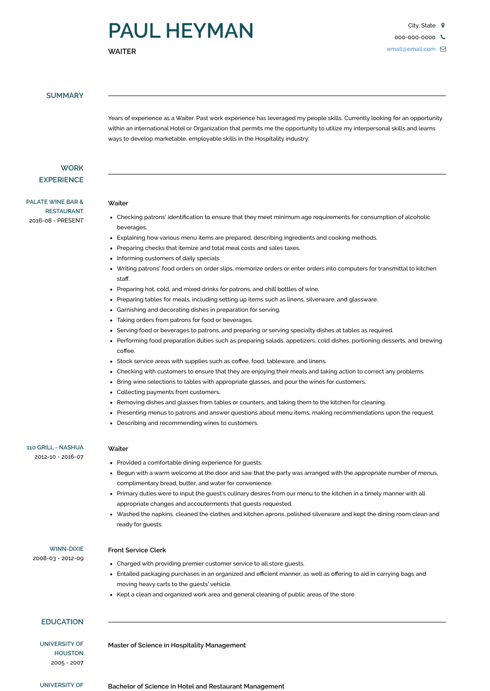 Waiter Resume Sample and Templates VisualCV in 2020