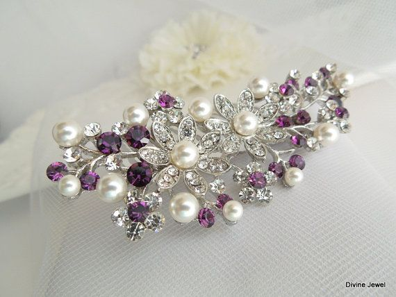 bridal jewelry prom headpiece crystalline beads flower hairpin Blue and violet bohemian hair comb hairpin purple wedding hair accessory