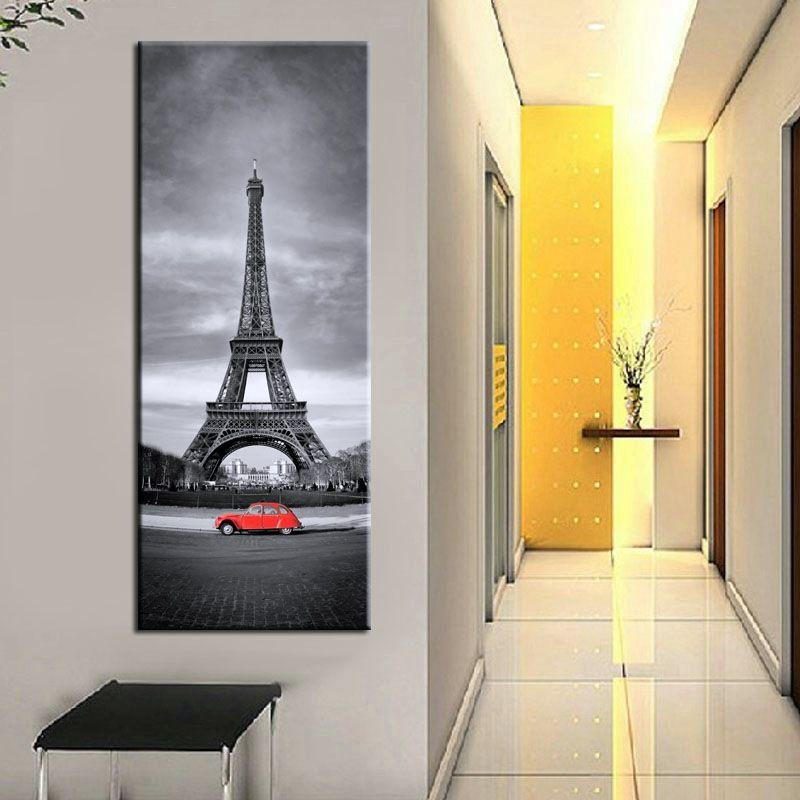 Quadro Torre Eiffel e macchina rossa cm 120x50 (SJMD4864)