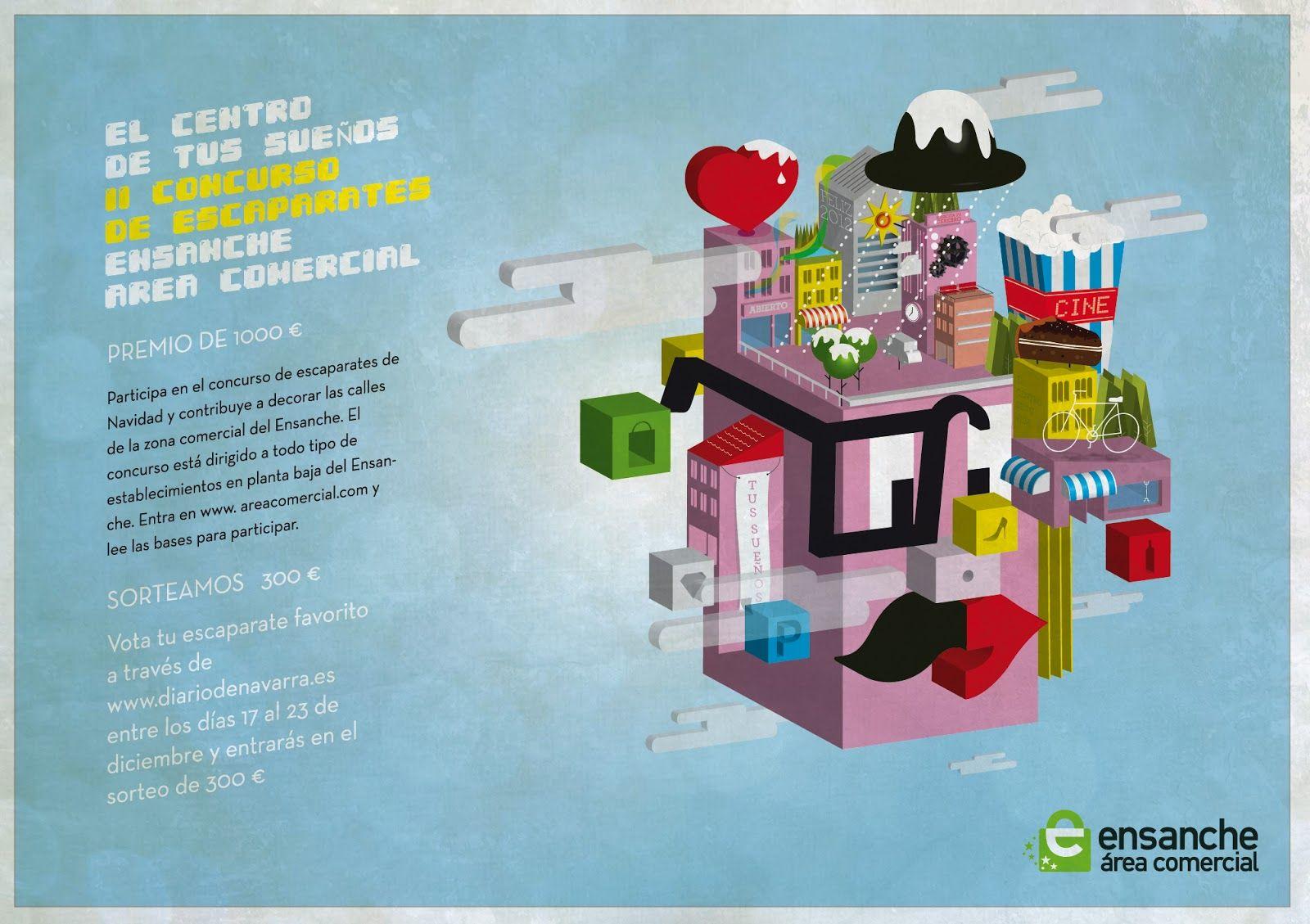 """Anuncio en Diario de Navarra del concurso de escaparates de Navidad """"El centro de tus sueños"""" 2012."""