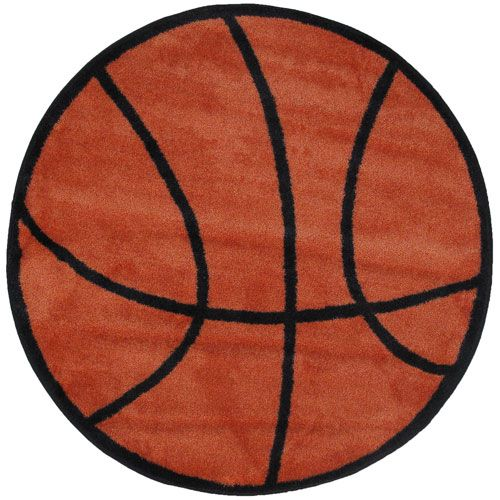 Fun Time Shape Basketball  39 Inch Round Rug
