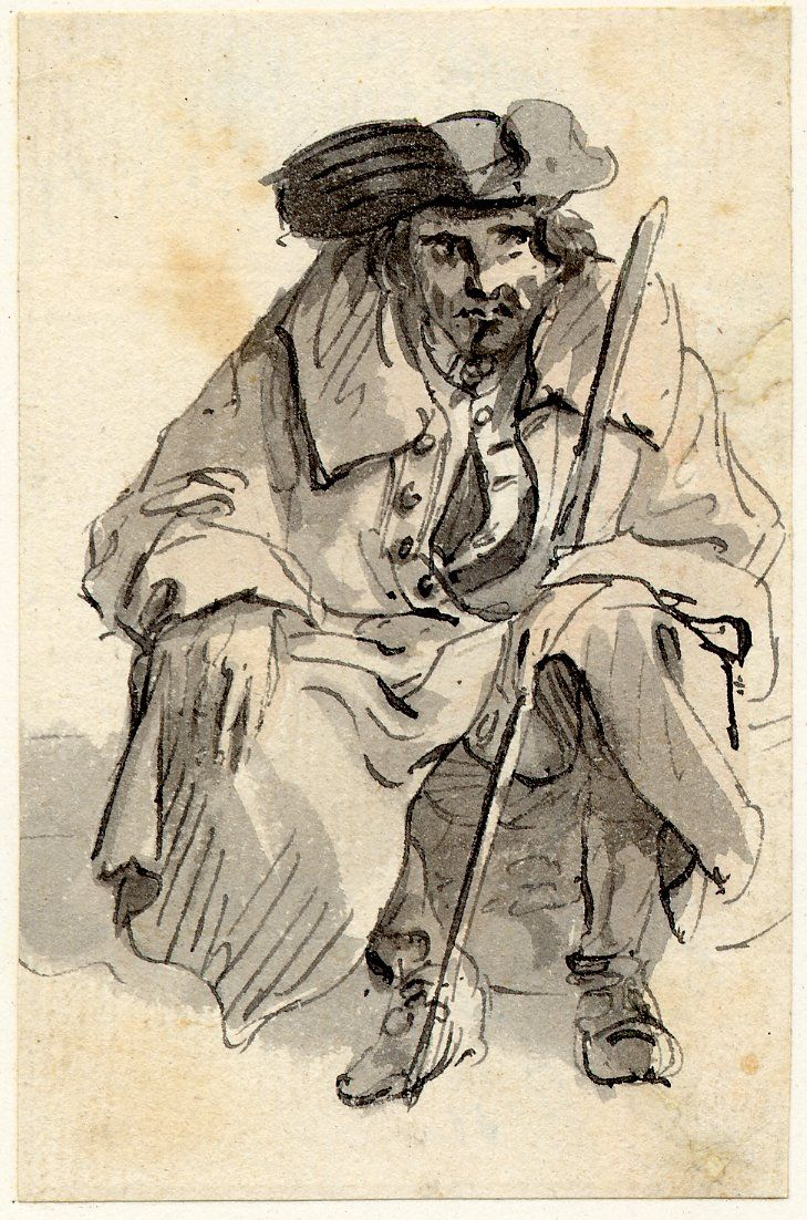 Beggar with Staff - Sandby - Edinburgh Sketches after 1745. This man wears his waistcoat buttoned at the top but undone the rest. I wonder why they tended to be worn like this - there must be a functional reason why - maybe comfort or time in doing all those buttons up? Large collared coat, tricorne hat. Coat again, is too big for man as you can see the CF's overlapping where it's probably been tied to a close with a piece of string.