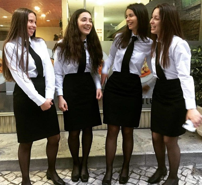 Student Girls Dressed Formal In White Shirt Black Skirts -9723