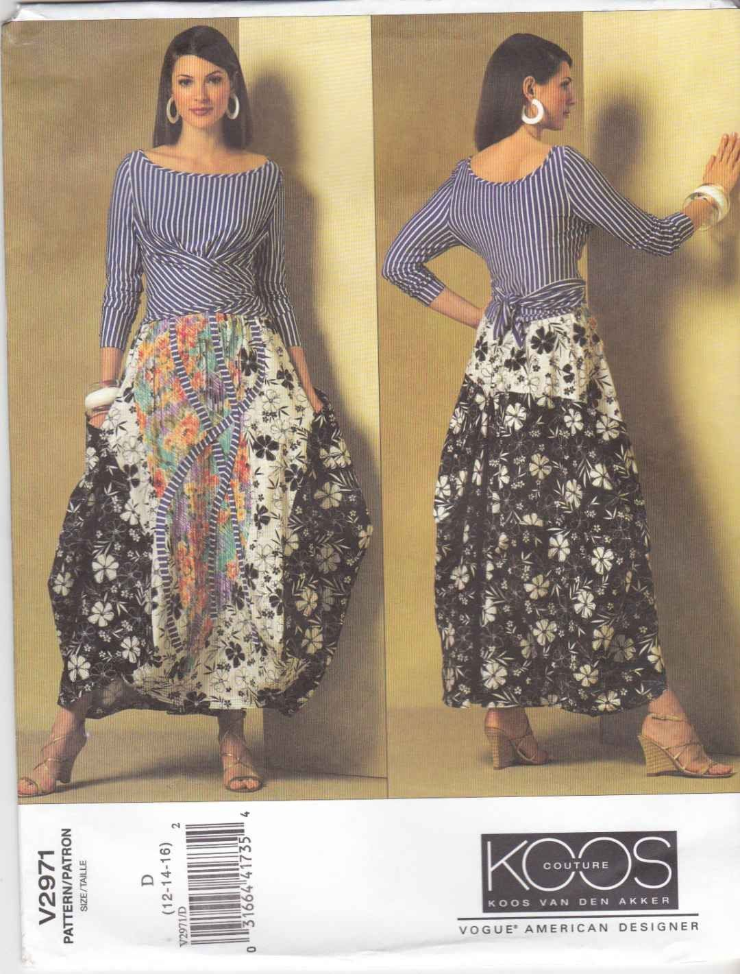 Vogue Sewing Pattern 2971 Misses Size 6-10 Koos Van Den Akker Knit ...