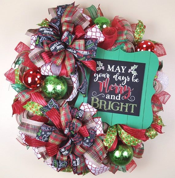 Christmas Deco Mesh Wreath, Merry and Bright Wreath, Christmas Mesh Wreath, Christmas Door Decor,Dec #decomeshwreaths