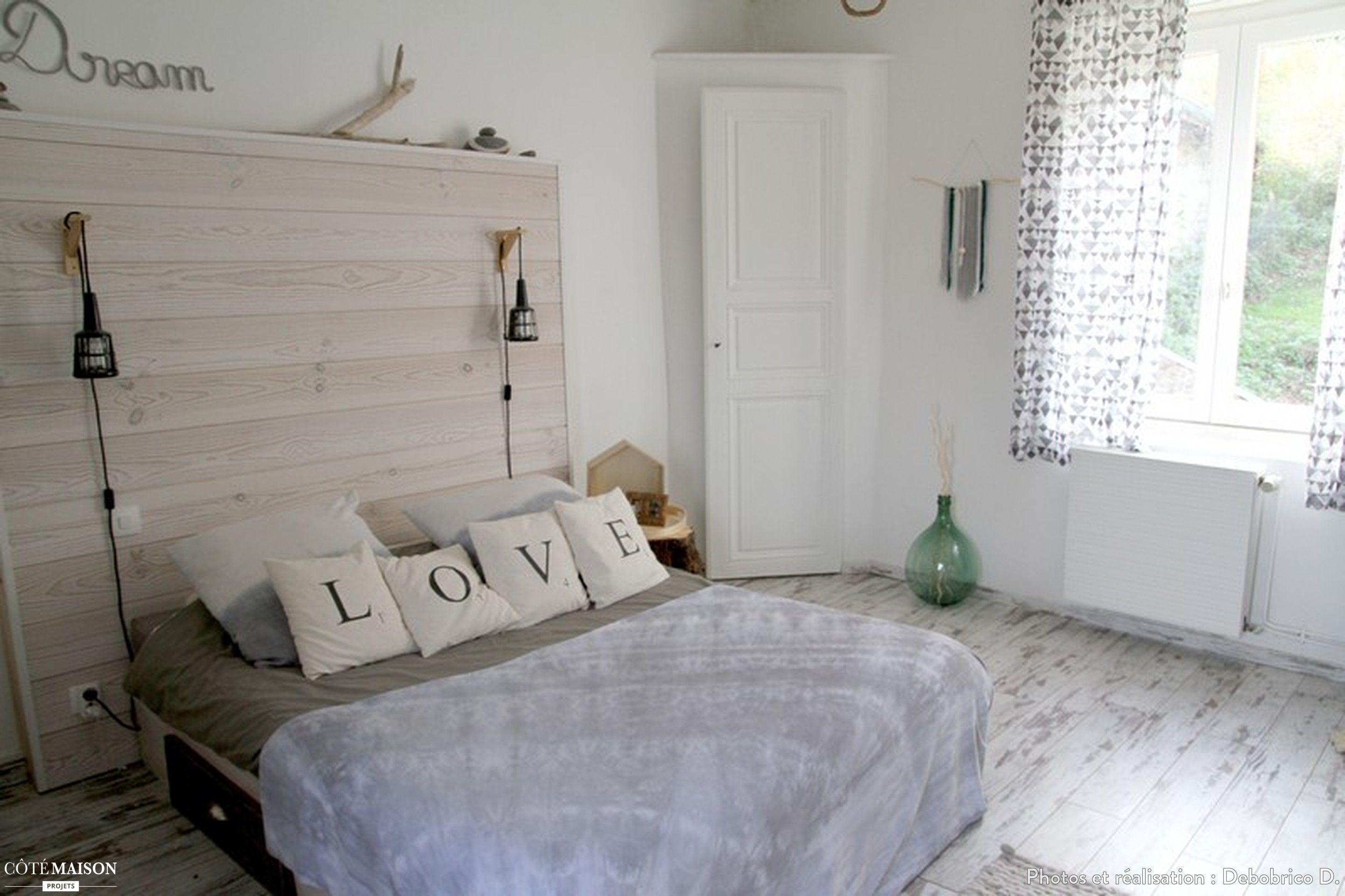 Chambre grise et blanche ambiance nature cabane de plage