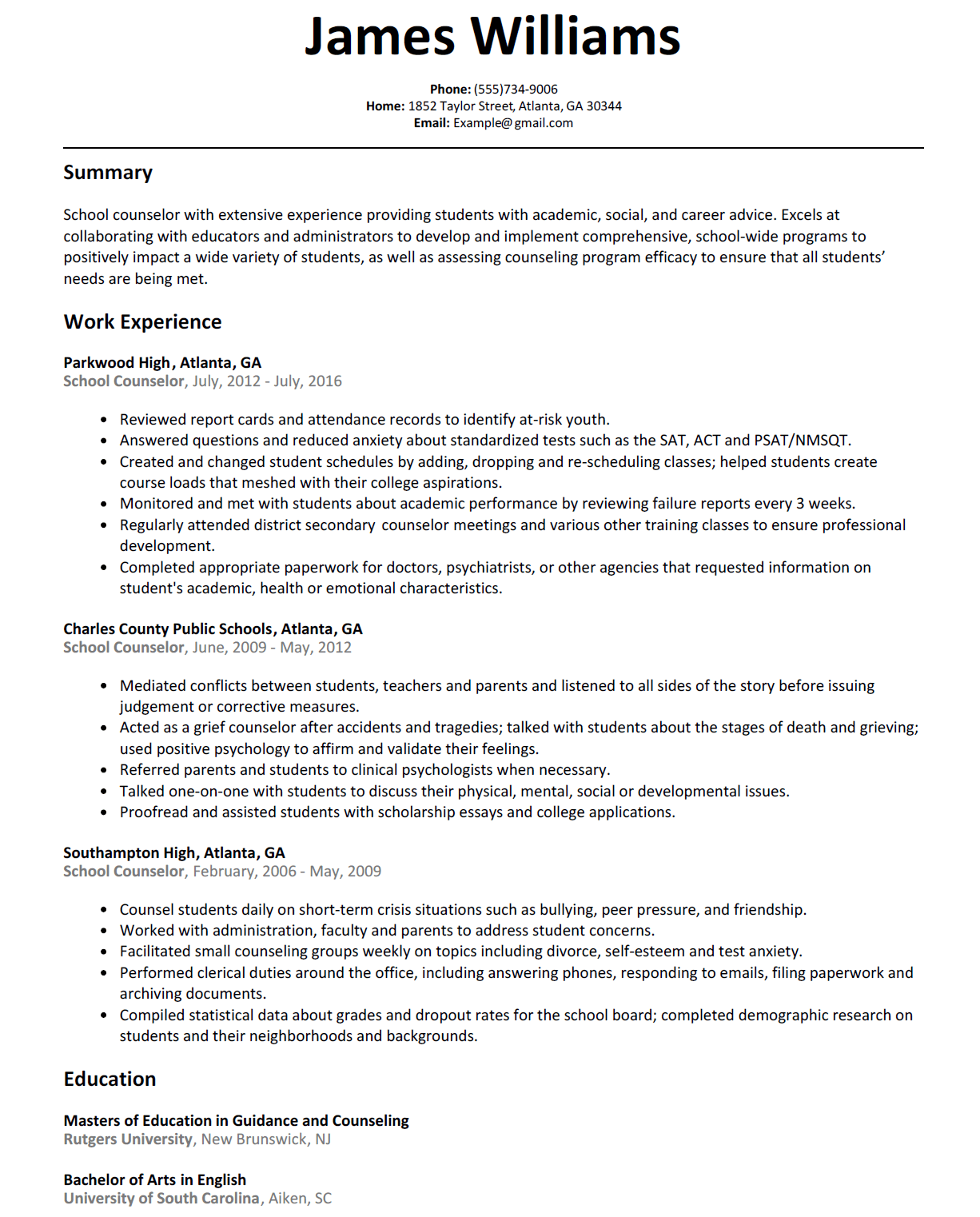 School Counselor Resume With Images