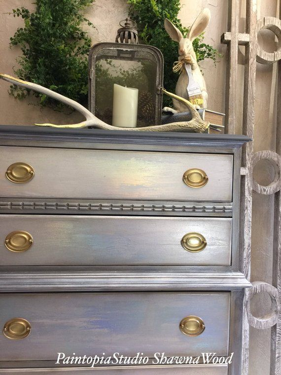 Vintage Dresser, Gray Chest, Drawers, White,Gold, Hand