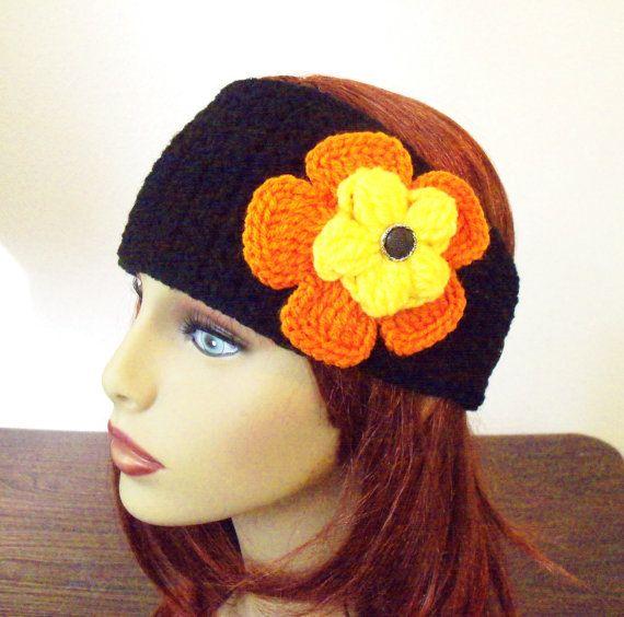 Adjustable Headband/Earwarmer with Flower  Black by BeyondCrochet
