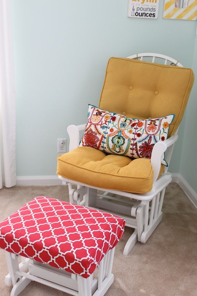 The fabric combinations on this chair/ottoman are so fun! | Blog ...