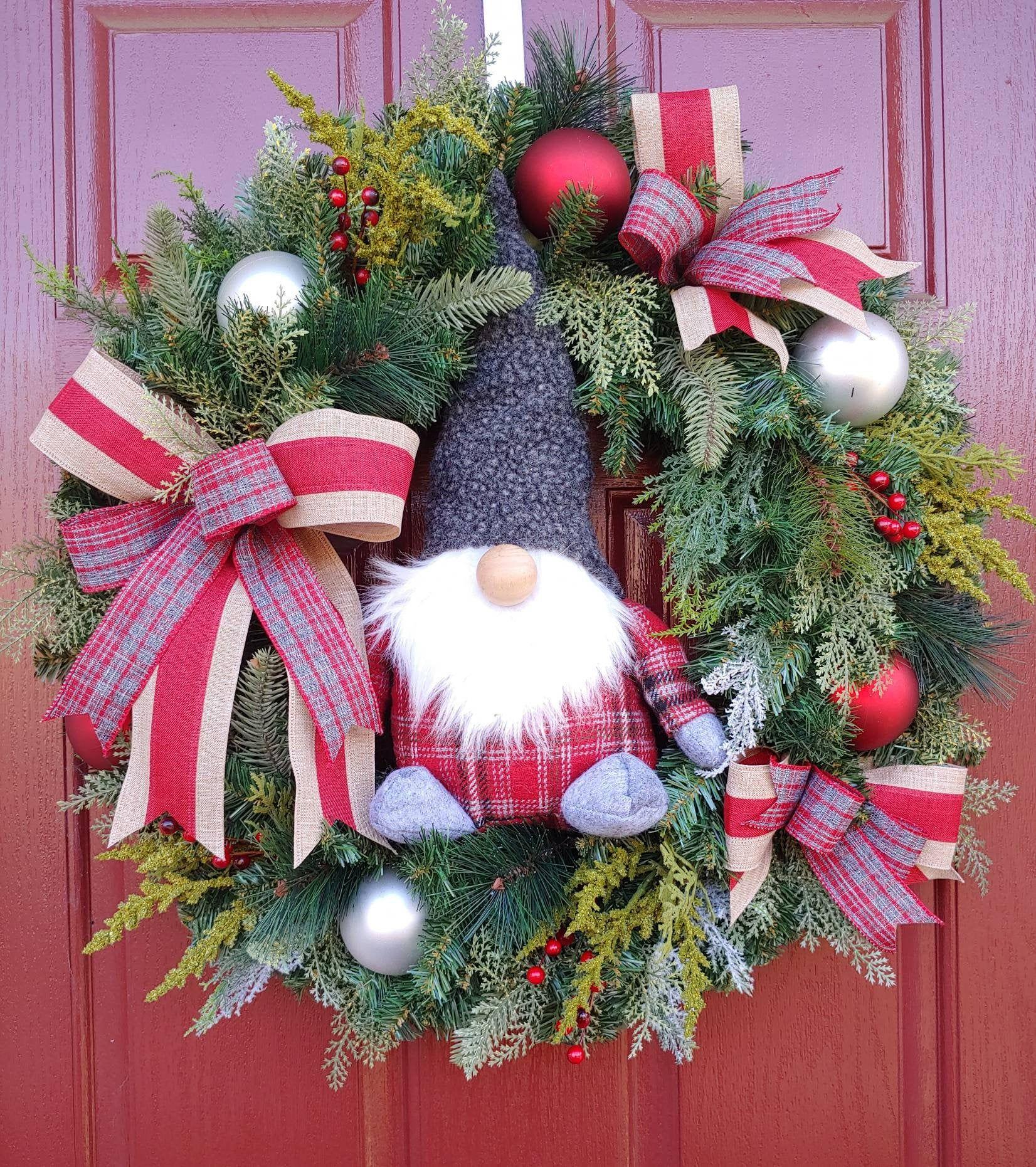 Gnome Wreath Christmas Wreath Front Door Wreath Gnome Decoration Holiday Decor Unique Xmas Gift Winter Door Hanger Evergreen Christmas Wreaths Christmas Door Decorations Fall Door Decorations