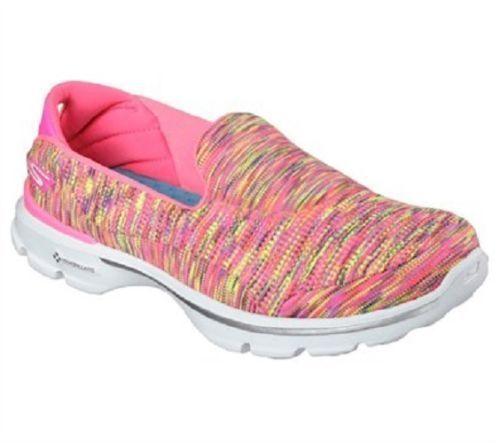 7aabb58cd457 14061 Pink Skechers Shoes Go Walk 3 Women Casual Slip On Pillars Cushion  Comfort