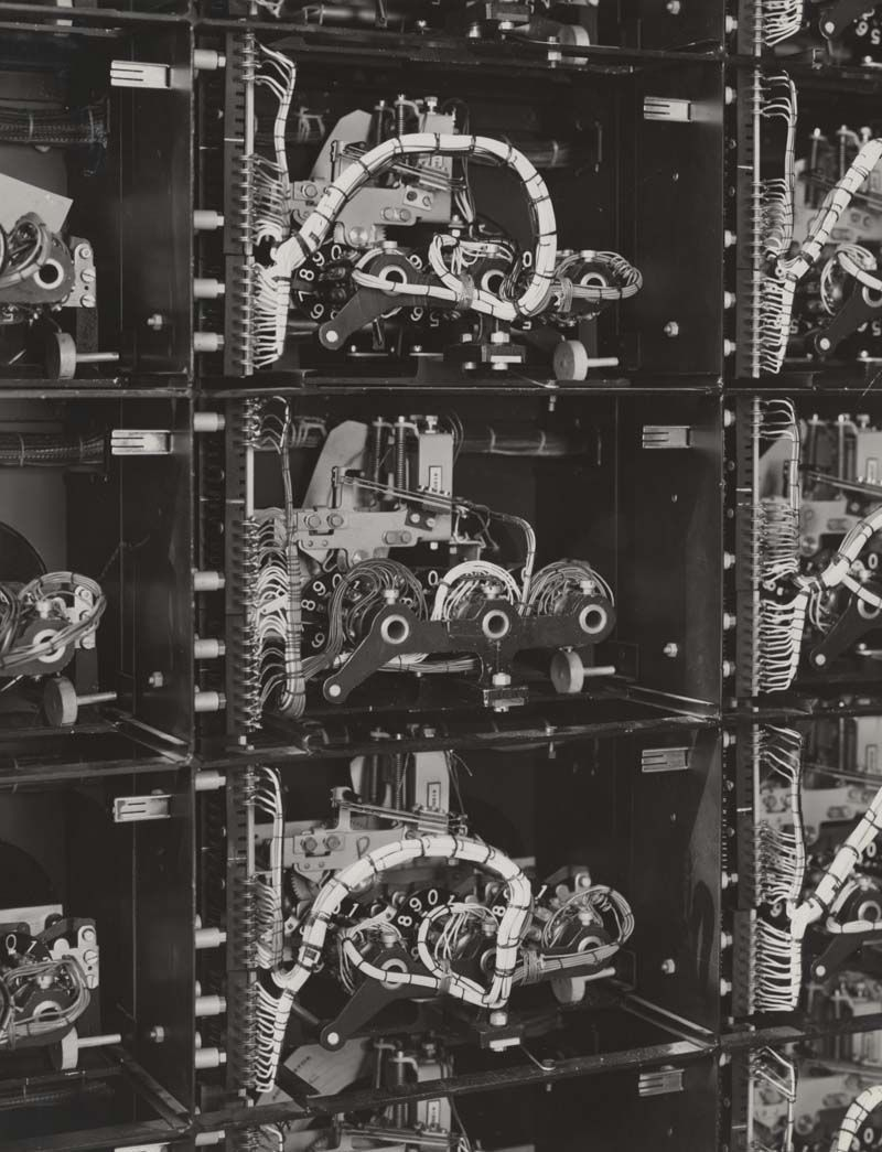 Totalisator aggregators showing variation in wiring, close up detail, 1938. IET Archives NAEST 211/02/09/03 C.5336