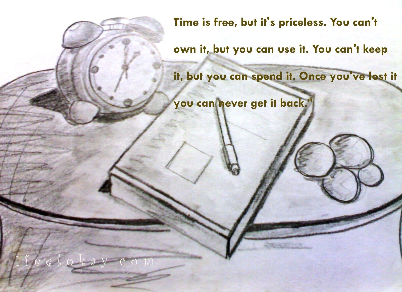 time is free,but it's priceless.u cant own it,but u can use it. u cant keep it,but u can spend it. once u've lost it u can never get it back