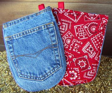 hot pads made with jean pockets sewing kitchen towels