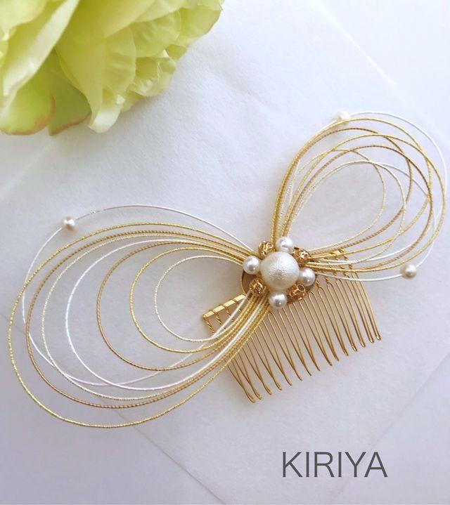 和 水引とパールの髪飾り ゴールド | ハンドメイドマーケット minne
