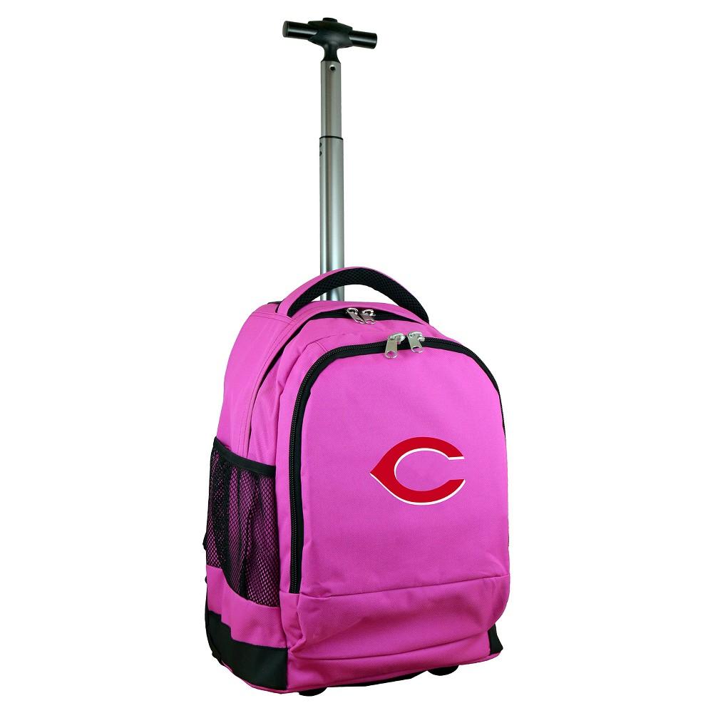MLB Cincinnati Reds Premium Wheeled Backpack Pink, Size