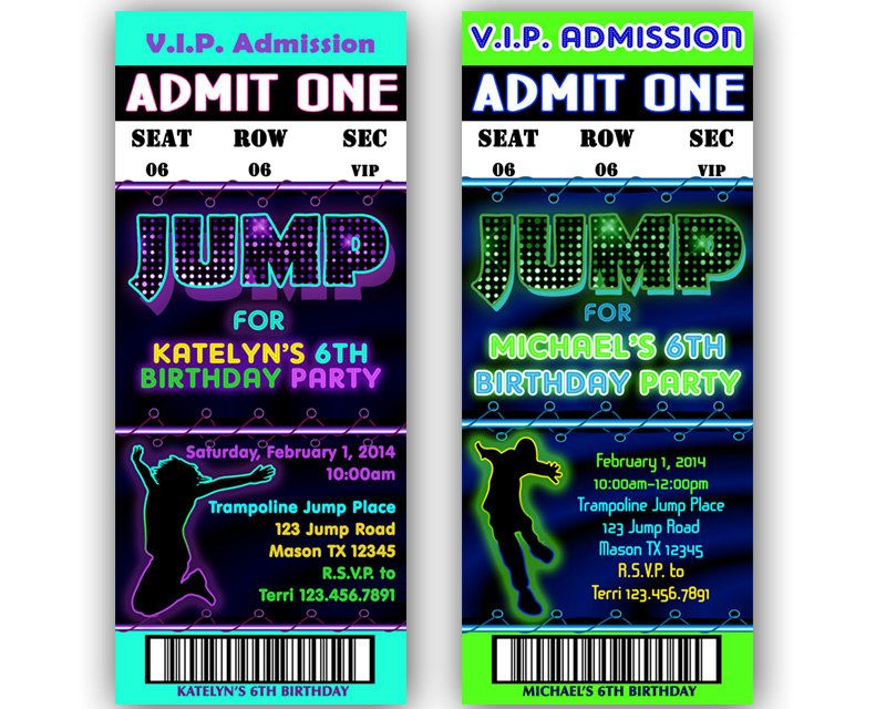 Printable Jump Birthday Invitation - Trampoline Park Party Bouncey ...