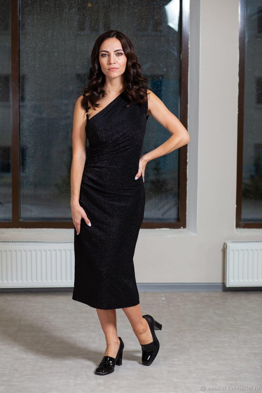 Копия работы Вечернее платье на одно плечо с драпировкой и лампасами -  купить или заказать в интернет-магазине на Ярмарке Мастеров  e9fca9ddb49fb