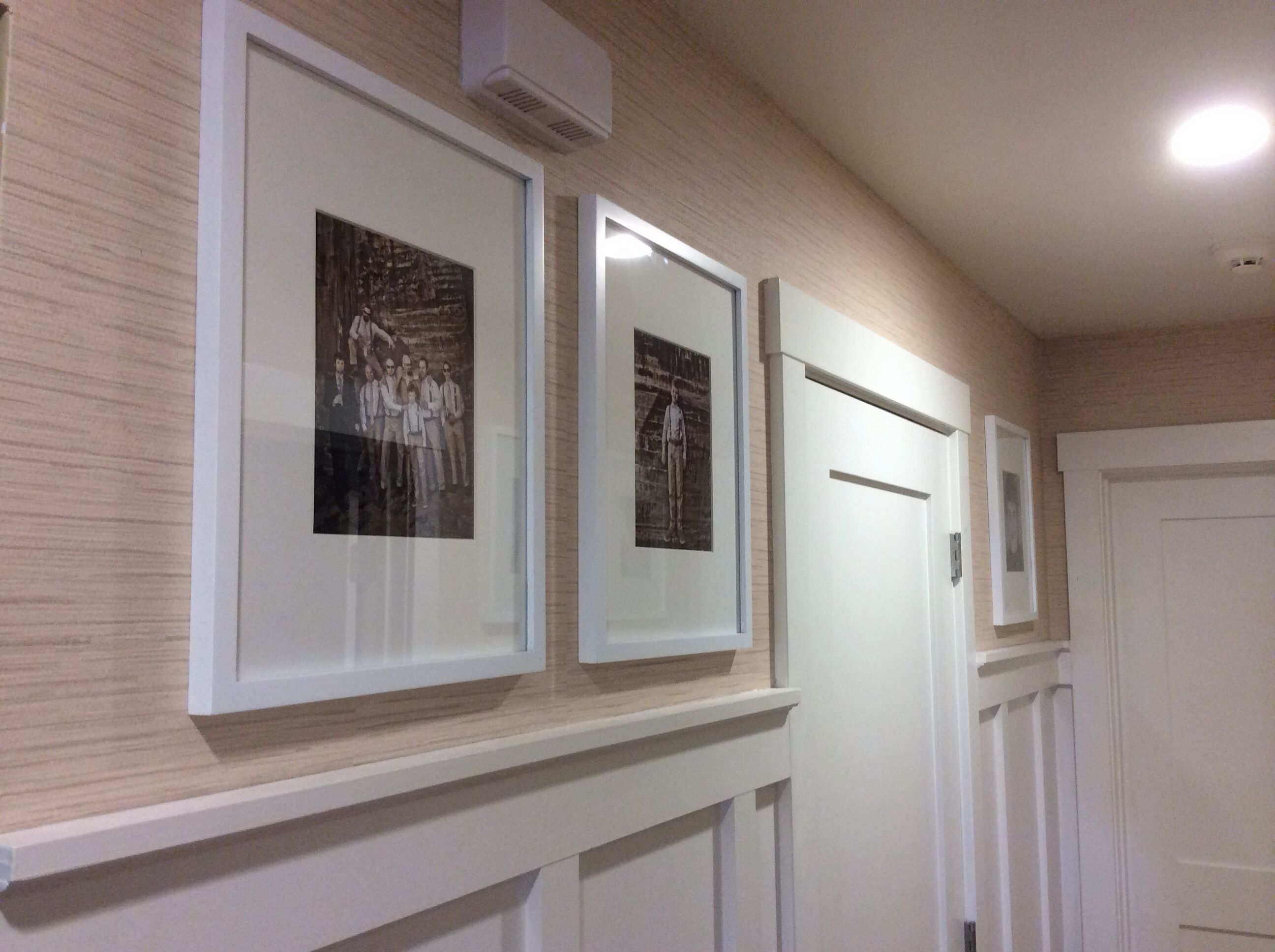 Board and batten hallway and grass cloth wallpaper we did | Love ...