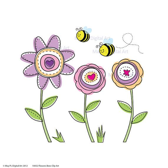 Bumble Bee and Flower Clip Art