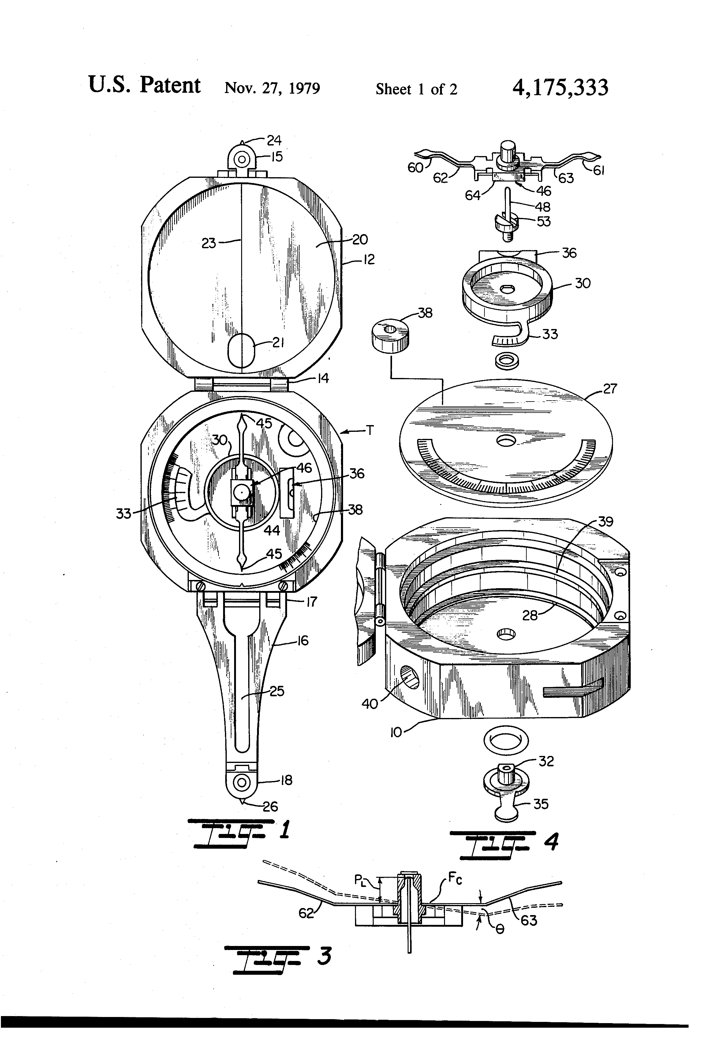 Us4175333a Magnetic Compass Compass Drawing Patent Drawing Magnetic Compass